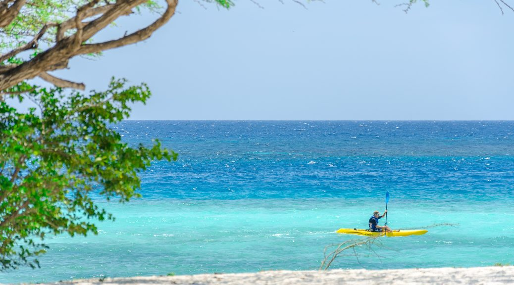 Man Riding A Kayak By An Aruba Beach